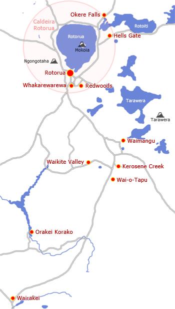 Carte de la région de Rotorua